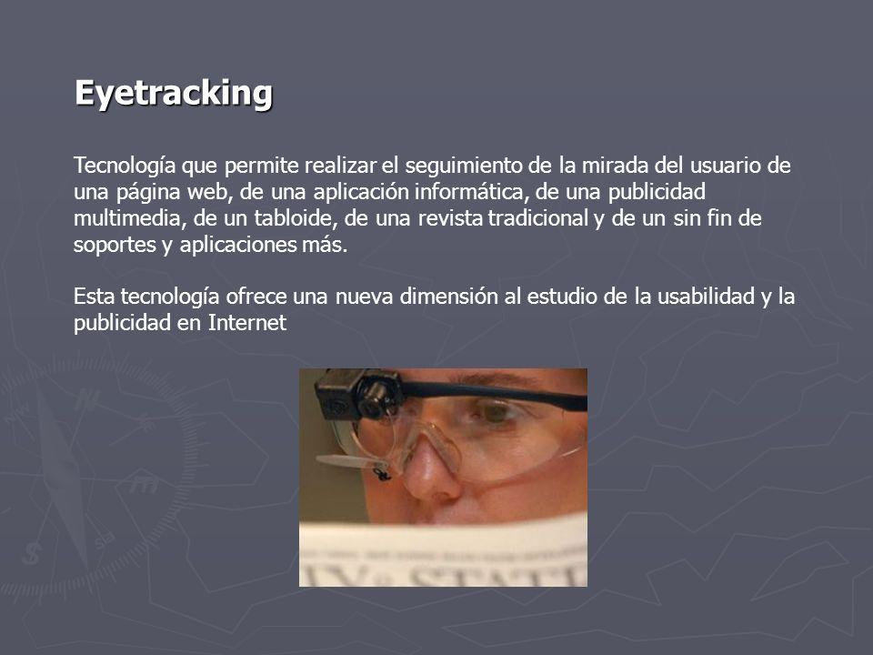 Eye Track 2007 (Realizado por el Poynter Institute) Estudio que analiza el comportamiento de 600 lectores online y sobre papel Objetivo Clarificar el modo en el que los usuarios leen, tanto en el papel como en la pantalla Principal conclusión Leemos con más profundidad en la Red.