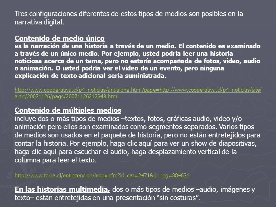 Tipo el segundo aspecto, se refiere a cuáles medios –texto, fotos, gráficas, audio, video, animación son usados para contar la historia.