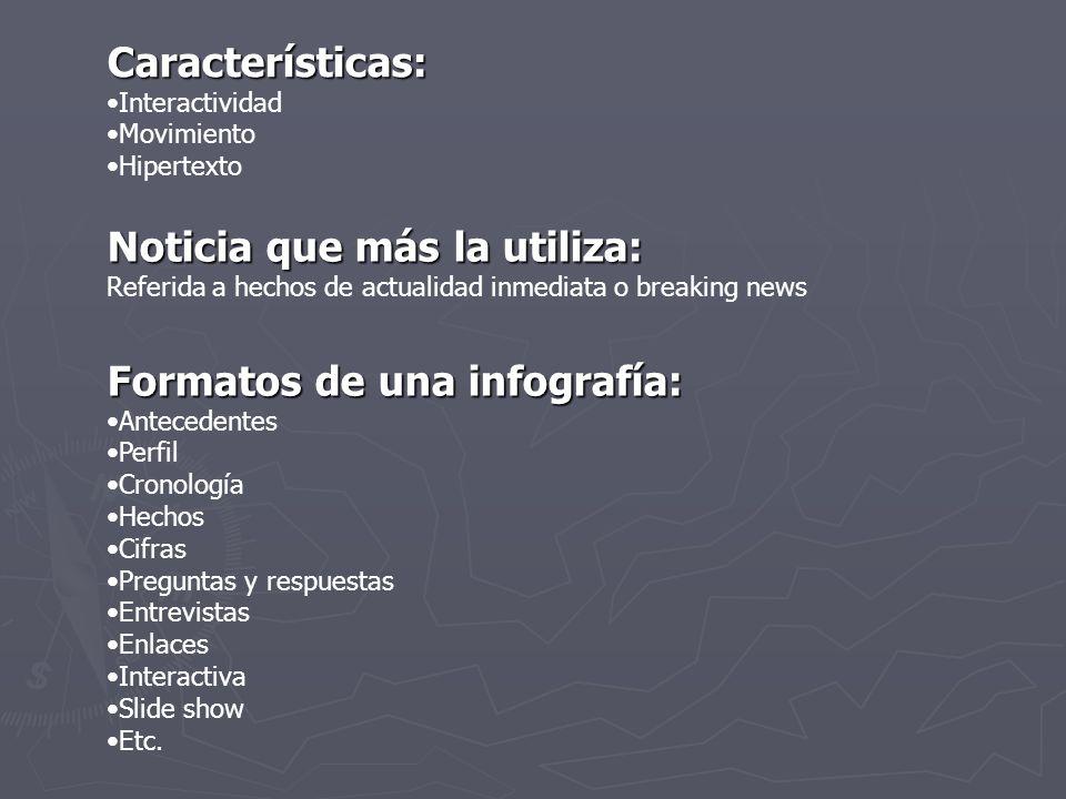 Partes de una infografía Para que una infografía digital sea considerada como tal debe poseer un titular, un texto explicativo corto, un cuerpo de información, una fuente, una barra de navegación, elementos multimediales y un crédito de autor.