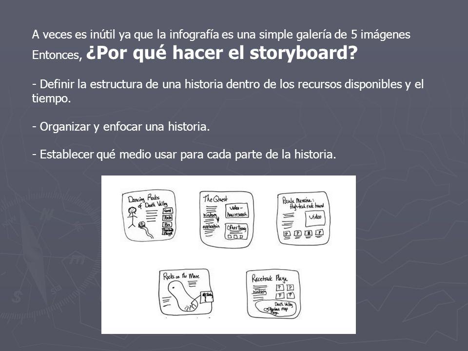 Cómo hacer un storyboard básico El storyboard de un reportaje multimedia debe combinar de manera interactiva texto, fotografías (fijas y móviles), audio y video.