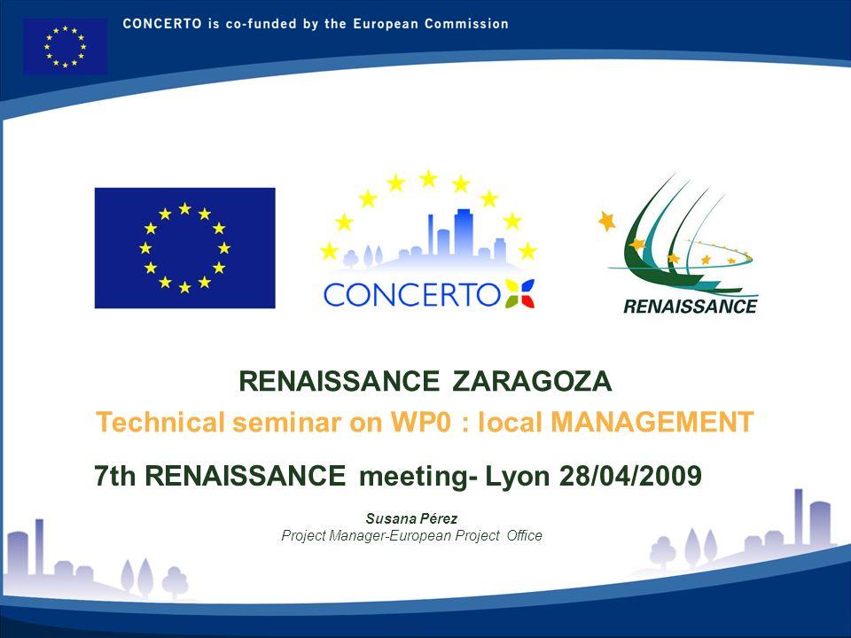 RENAISSANCE es un proyecto del programa CONCERTO co-financiado por la Comisión Europea dentro del Sexto Programa Marco RENAISSANCE - ZARAGOZA - SPAIN 2 WP0 Developing a work methodology on the progress report- Meeting on 11/02/2009 1.WP LEADER 2.Annexes 3.Nomenclature 4.Template 5.Importance of the presentation