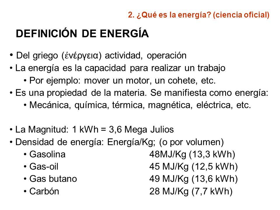 FUENTES ENERGÉTICAS Rendimiento: Mejor fuente energética depende de: Coste de extracción Cantidad de energía utilizable Comparación de fuentes: TASA RETORNO (TRE) La mejor fuente: la que tenga el TRE más alto 2.