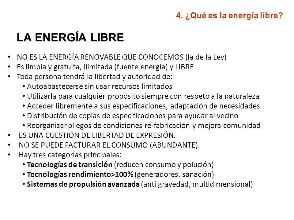Categorías principales de energía libre (según AERO): 1.- Energías de transición.