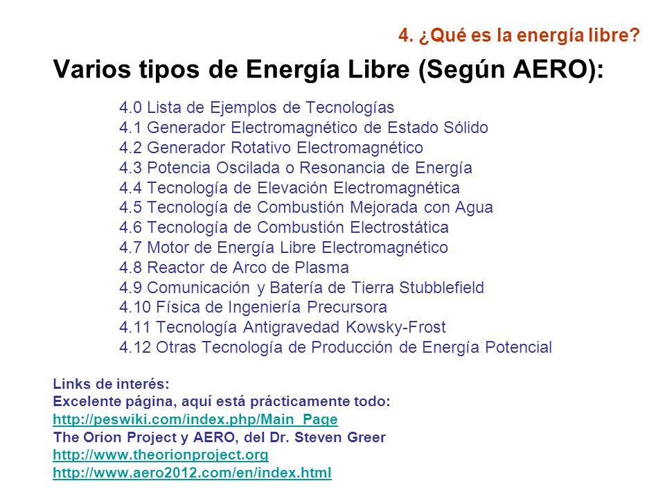 4.¿Qué es la energía libre. Ejemplos de estas tecnología (según AERO): 1.