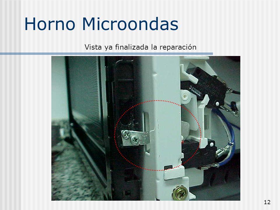 13 Horno Microondas Una vez finalizado el ajuste de la uña, procederemos a montar la carcasa y la placa de control alojada en la puerta, para poder probar el horno.