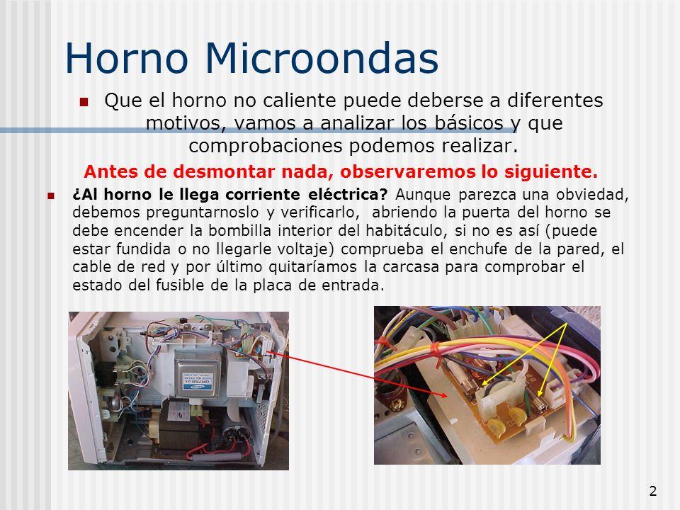 3 Horno Microondas Si al horno le llega corriente, verificaremos entonces si.