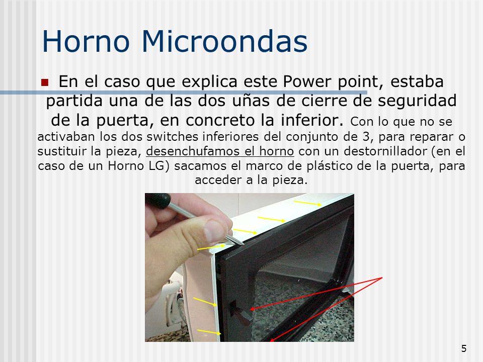 6 Horno Microondas Con el destornillador con cuidado hemos extraido la moldura de plástico y procederemos a extraer del mismo modo la puerta, que también va encajada con pestañas que la retienen, en este modelo el panel de control, está incluido en la puerta.