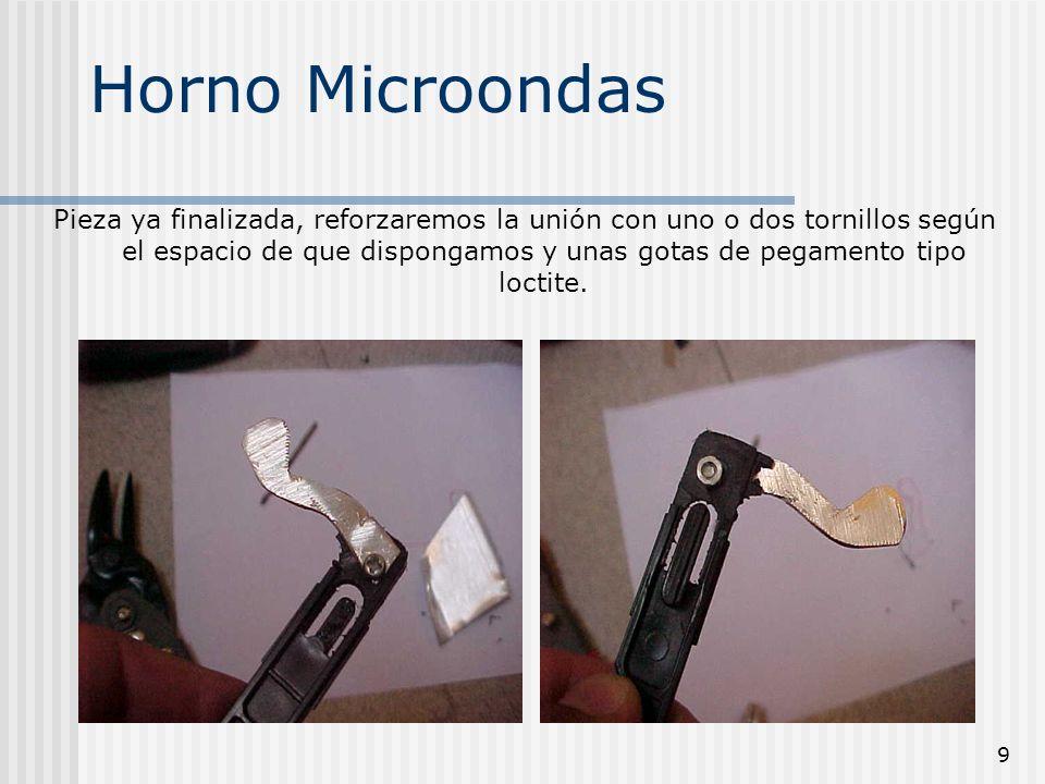 10 Horno Microondas El siguiente paso es comprobar si cierra la puerta correctamente y se activan los switches retocando con lima la uña realizada.