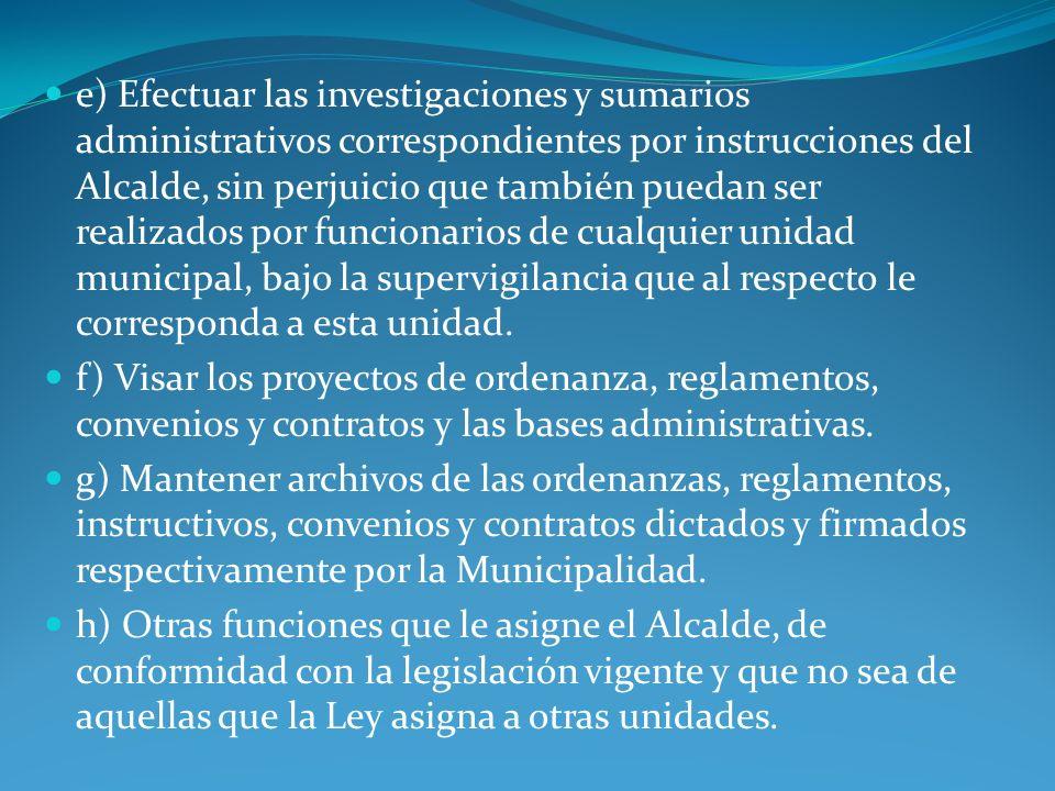 Unidad de Control Tiene como objetivo fiscalizar la gestión del municipio, en el marco de las normas legales vigentes y de los procesos administrativos establecidos, apoyando la máxima eficiencia administrativa interna de la Municipalidad.