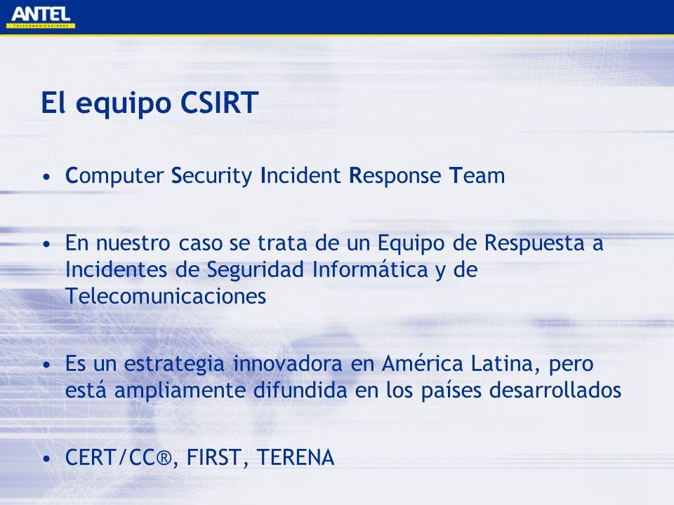Equipos de respuesta a incidentes Fuente: FIRST – 11/06 184 Equipos en 36 países Estados Unidos 71 Canadá 10 América Latina 6 Asia y Oceanía 22 Europa 75 África 0