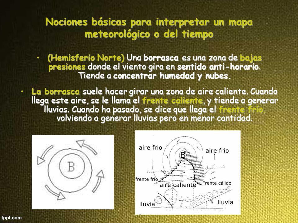 Un anticiclón es una zona de altas presiones donde el viento gira en sentido horario.