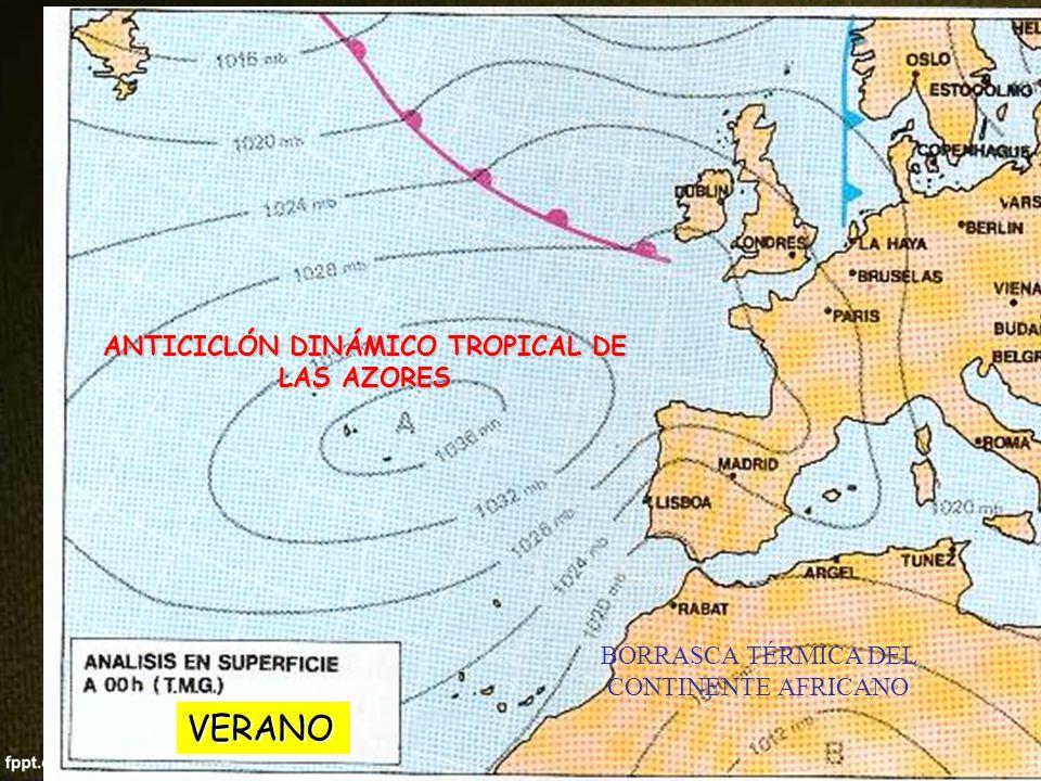 ANTICICLÓN DINÁMICO TROPICAL DE LAS AZORES BORRASCA TÉRMICA DEL INTERIOR PENÍNSULAR ANTICICLÓN DINÁMICO TROPICAL DE LAS AZORES BORRASCA DINÁMICA SUBPOLAR SUBPOLAR ANTICICLÓN DINÁMICO POLAR (no afecta a la Península (no afecta a la Península VERANO