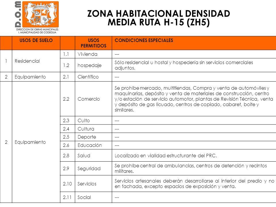 ZONA HABITACIONAL DENSIDAD MEDIA RUTA H-15 (ZH5) CONDICIÓN DE EDIFICACIÓNVIVIENDAEQUIPAMIENTO Superficie predial mínima (m 2 )5001000 Coeficiente ocupación de suelo máximo0,50.5 Coeficiente de constructibilidad máximo1,0 Altura de edificación máxima (m)79 Sistema de agrupamientoAislado Pareado, Continuo Aislado Distanciamiento a medianeros (m)OGUC.