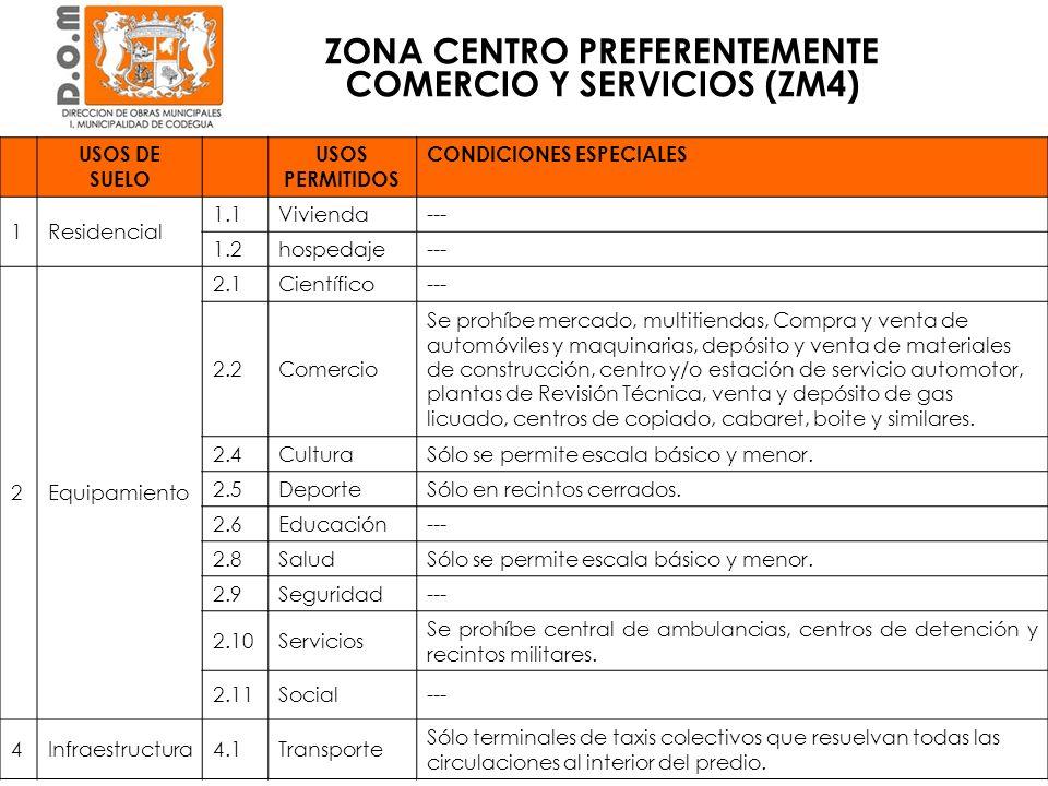 ZONA CENTRO PREFERENTEMENTE COMERCIO Y SERVICIOS (ZM4) CONDICIONES DE EDIFICACIÓN Y SUBDIVISIÓN Condición de edificaciónViviendaEquipamiento Superficie predial mínima (m 2 )500 Coeficiente ocupación de suelo máximo 0,50,8 Coeficiente de constructibilidad máximo 0,81,5 Altura de edificación máxima (m)710.5 Sistema de agrupamientoContinuo.