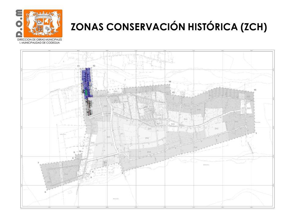 ZONA DE CONSERVACIÓN HISTÓRICA (ZCH) USOS DE SUELOUSOS PERMITIDOS CONDICIONES ESPECIALES 1Residencial 1.1Vivienda-- 1.2hospedajeSe prohíbe motel.