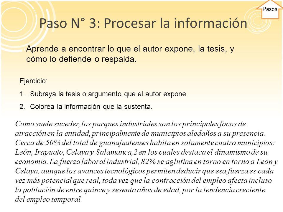 Pasos Paso N° 3: Procesar la información.