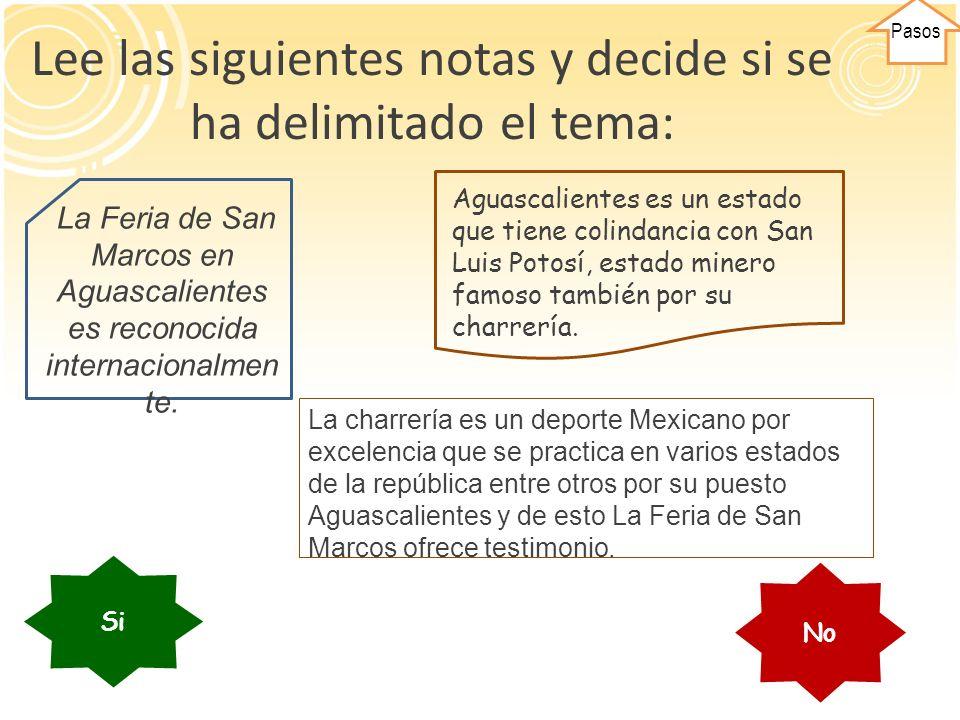 El tema NO Está delimitado pues habla de: La feria, de San Luis Potosí y de la minería.