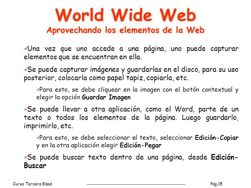 Curso Tercera Edad Pág.16 World Wide Web Menú Favoritos Para agregar la url de la página actual en la lista de páginas favoritas Para organizar las direcciones guardadas en Favoritos: Renombrar, eliminar carpetas o urls favoritas.