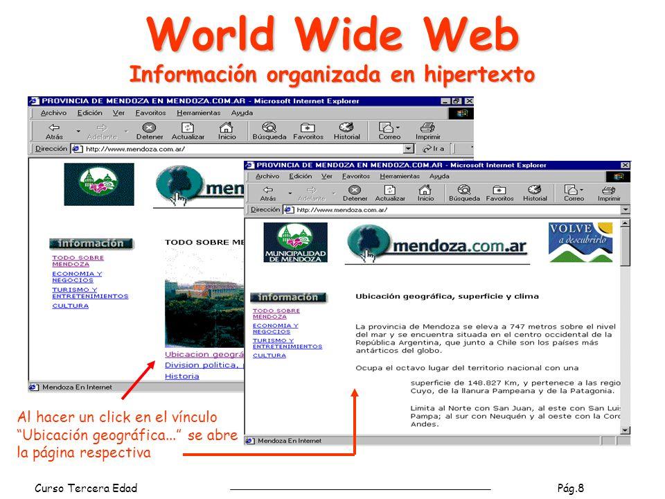 Curso Tercera Edad Pág.9 World Wide Web navegadores páginas Los navegadores interpretan y presentan al usuario páginas escritas en lenguaje HTML.