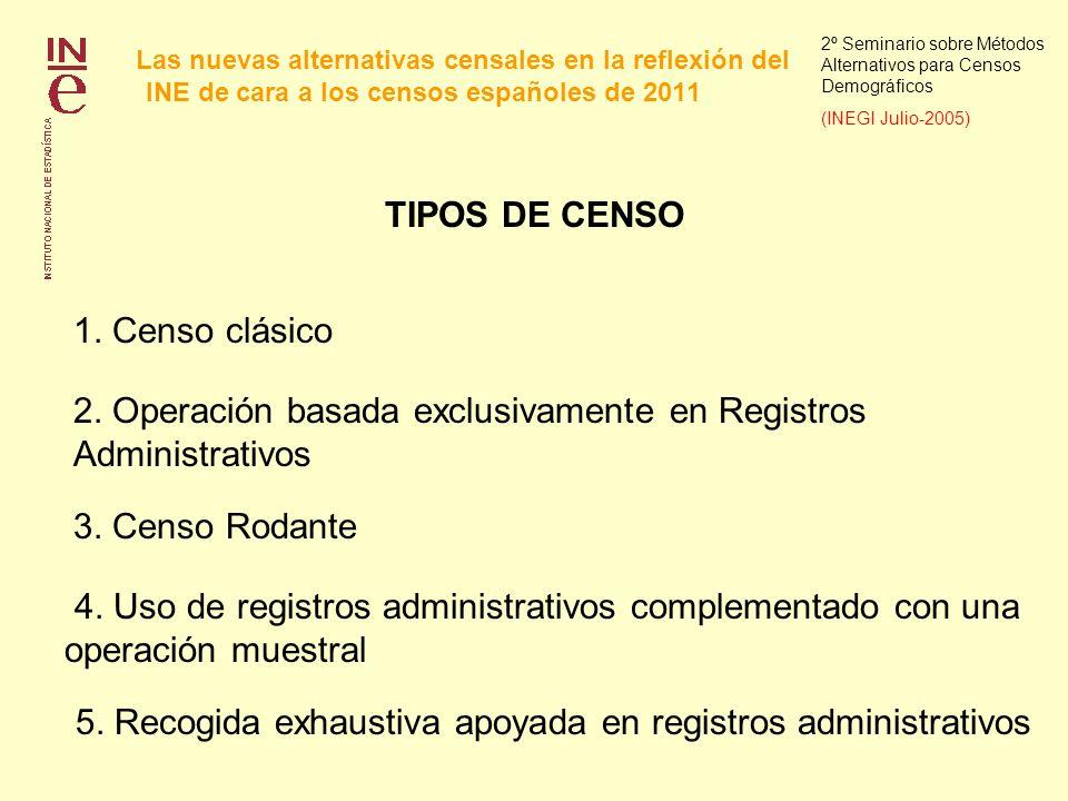 Las nuevas alternativas censales en la reflexión del INE de cara a los censos españoles de 2011 2º Seminario sobre Métodos Alternativos para Censos Demográficos (INEGI Julio-2005) Mecanismo de decisión sobre el tipo de censo mas apropiado