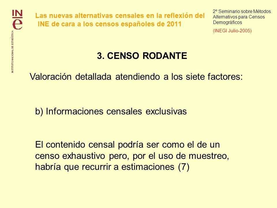Las nuevas alternativas censales en la reflexión del INE de cara a los censos españoles de 2011 2º Seminario sobre Métodos Alternativos para Censos Demográficos (INEGI Julio-2005) 3.