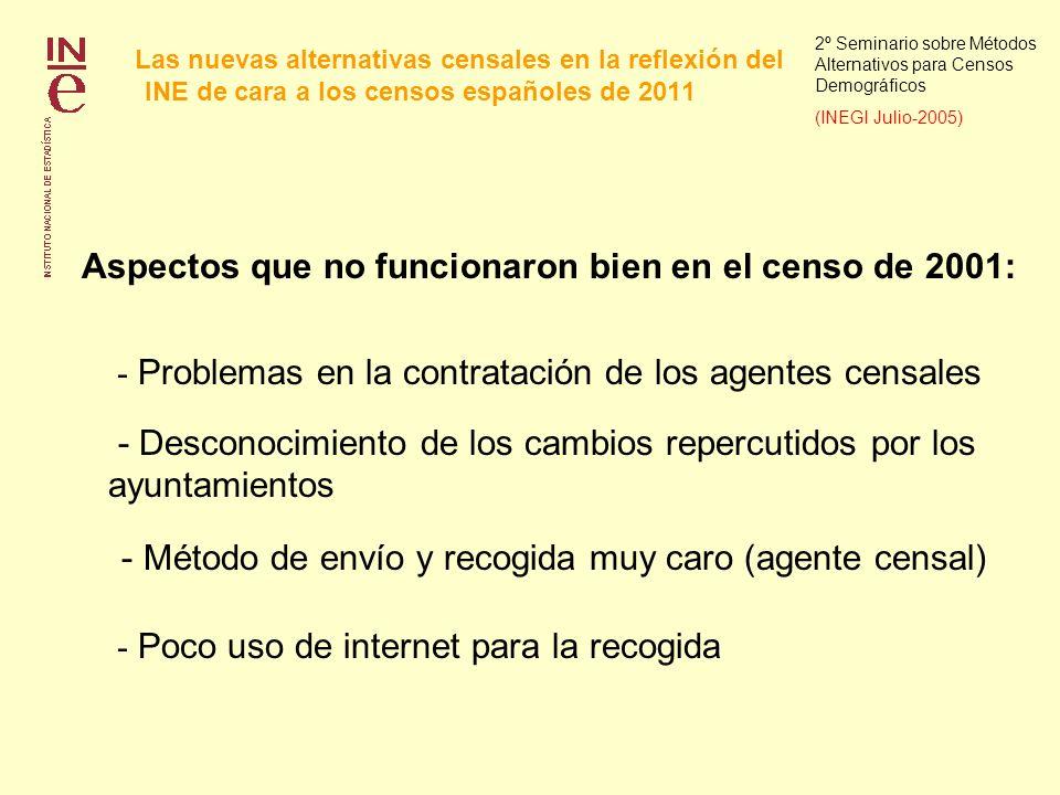 Las nuevas alternativas censales en la reflexión del INE de cara a los censos españoles de 2011 2º Seminario sobre Métodos Alternativos para Censos Demográficos (INEGI Julio-2005) 2.