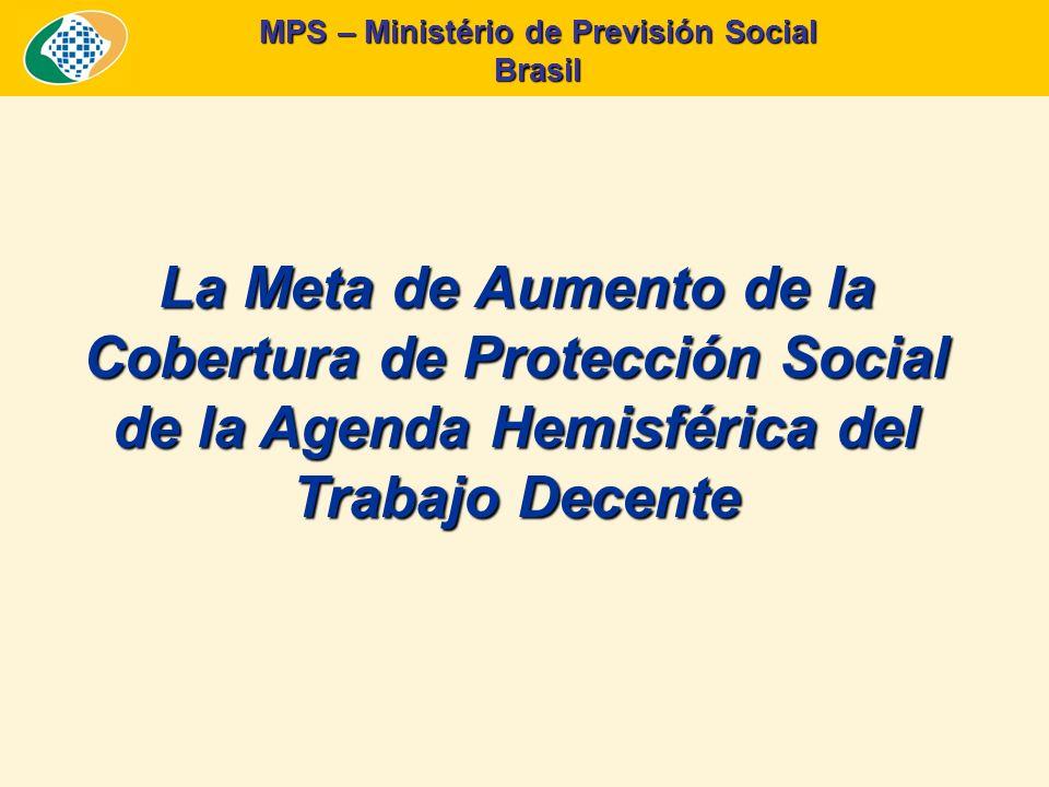 MPS – Ministério de Previsión Social Brasil La Meta de Expansión de la Cobertura de la Protección Social Fuente: PNAD/IBGE – Varios años y proyecciones conforme escenarios de aumento de cobertura.