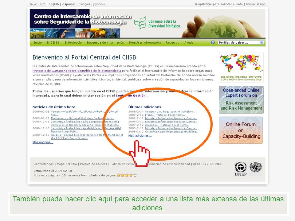 Al lado derecho de la página principal se encuentran los estandartes que muestran las principales actividades de seguridad de la biotecnología que se han reportado recientemente por el CIISB.