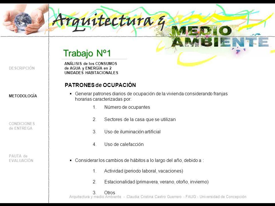 DESCRIPCIÓN CONDICIONES de ENTREGA PAUTA de EVALUACIÓN Trabajo Nº1 METODOLOGÍA ANÁLISIS de los CONSUMOS de AGUA y ENERGÍA en 2 UNIDADES HABITACIONALES Arquitectura y medio Ambiente - Claudia Cristina Castro Guerrero - FAUG - Universidad de Concepción COMPARACIÓN de los consumos de las dos unidades habitacionales Comparar los consumos totales y desglosados en: 1.