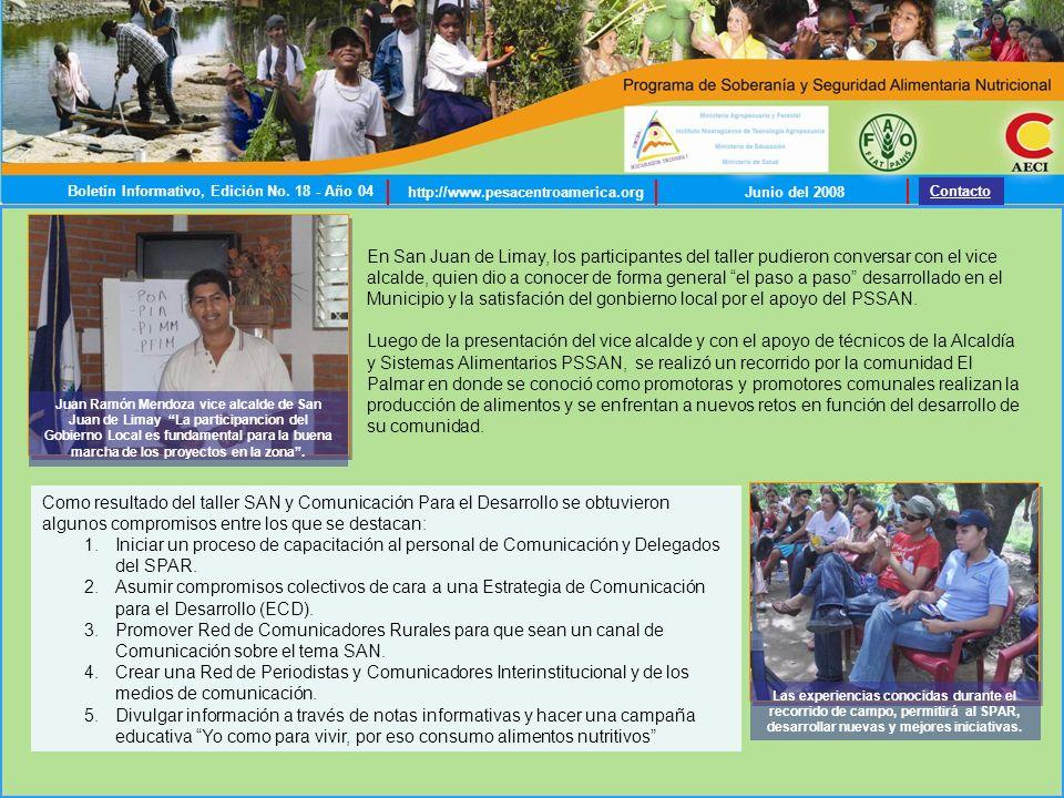 Promotoras y promotores de las comunidades El Palmar, Las Chácaras y Quebrada de Agua, expusieron sus experiencias ante los miembros del Comité de Desarrollo Municipal (CDM) de San Juan de Limay, el pasado 17 de junio.