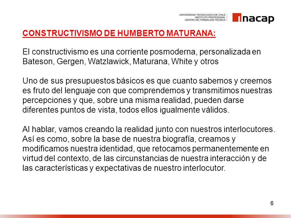 7 CONSTRUCTIVISMO DE HUMBERTO MATURANA: El lenguaje como acto vital como proceso integral a la conformación del conocimiento.