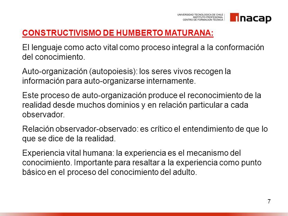 8 CONSTRUCTIVISMO DE HUMBERTO MATURANA: Realidad Intersubjetiva: Enfatizar que la realidad está conformada por relaciones sociales entre diversos sujetos.