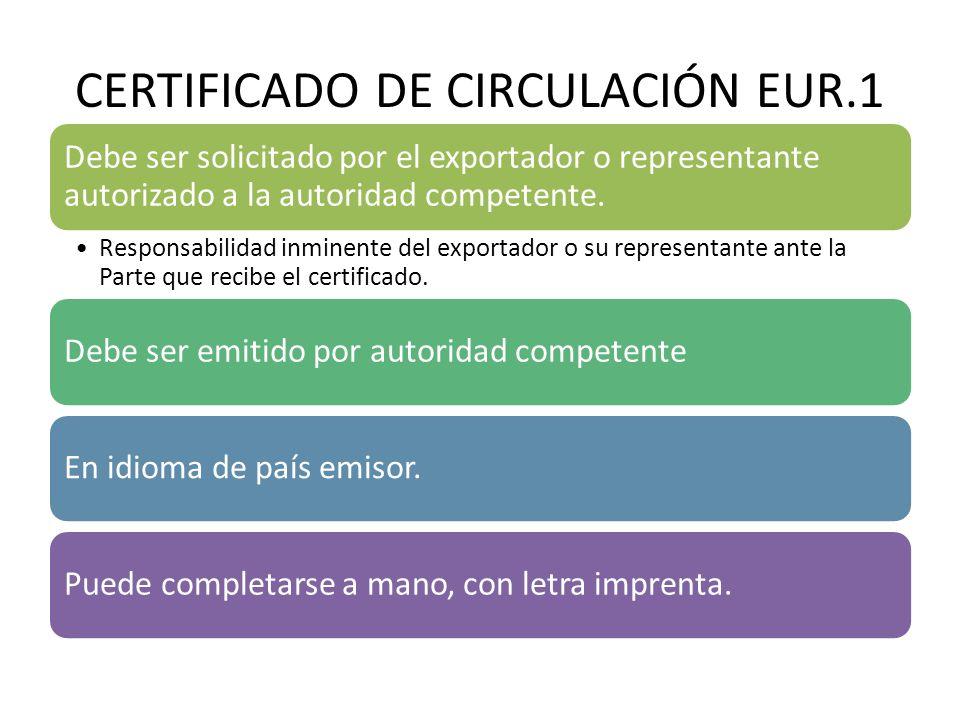 CERTIFICADO DE CIRCULACIÓN EUR.1 No debe dejarse líneas en blanco.