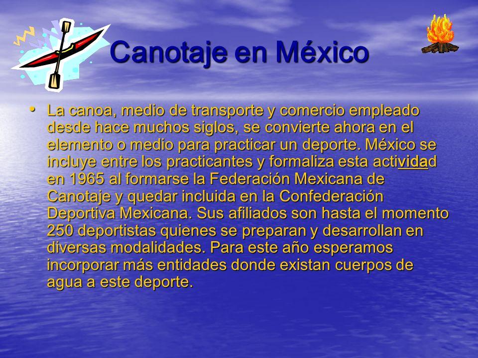 Los triunfos en México LOGROS IMPORTANTES México ha realizado dos Campeonatos Mundiales de Canotaje en los años de 1974 y 1994.