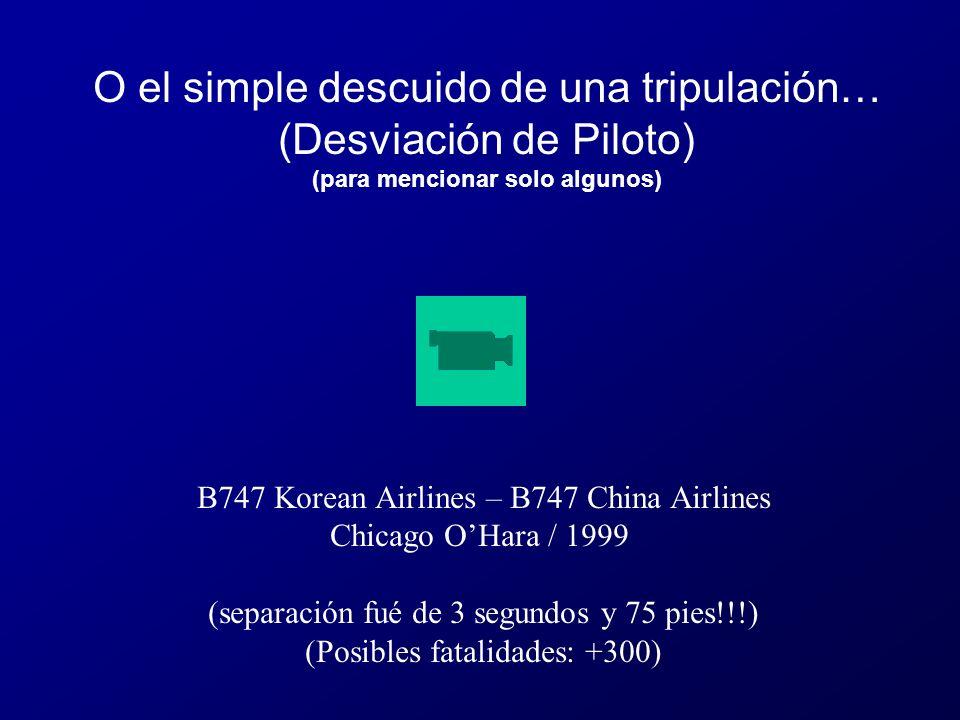 B747 Korean Airlines – B747 China Airlines Chicago OHara / 1999 (separación fué de 3 segundos y 75 pies!!!) (Posibles fatalidades: +300) O el simple descuido de una tripulación… (Desviación de Piloto) (para mencionar solo algunos)