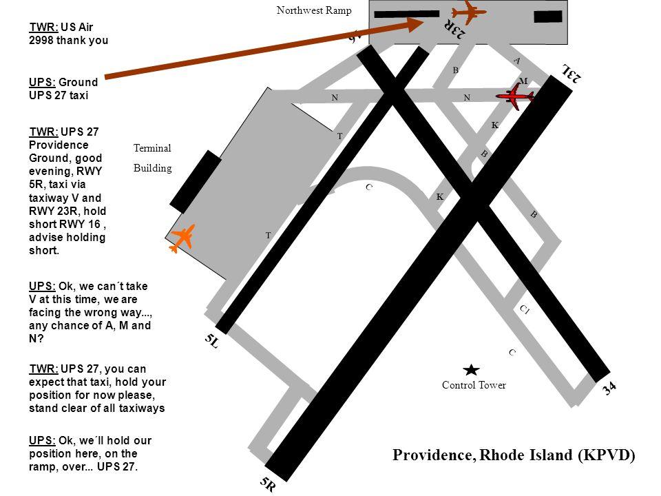 5R 5L 34 23L 23R Control Tower Terminal Building Northwest Ramp 16 C C B C1 N K K N T T B Providence, Rhode Island (KPVD) B M A TWR: US Air 2998 thank you UPS: Ground UPS 27 taxi TWR: UPS 27 Providence Ground, good evening, RWY 5R, taxi via taxiway V and RWY 23R, hold short RWY 16, advise holding short.
