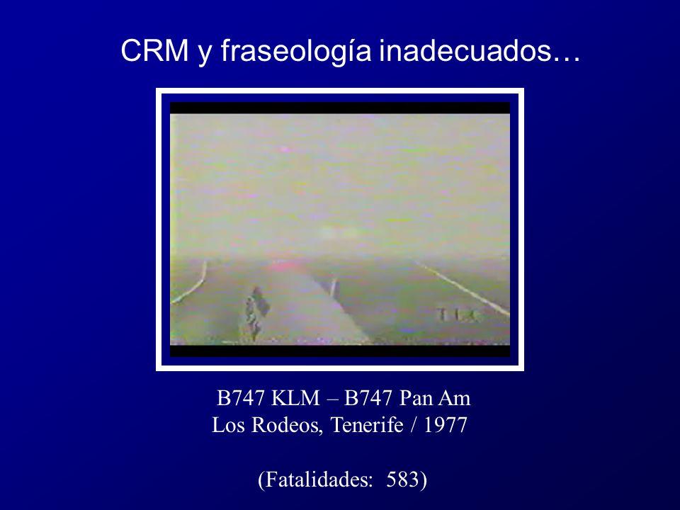 B747 KLM – B747 Pan Am Los Rodeos, Tenerife / 1977 (Fatalidades: 583) CRM y fraseología inadecuados…