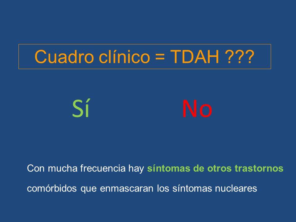 TDAH aislado Tics Trastorno del ánimo Trastorno de conducta Trastorno de ansiedad Trastorno oposicionista desafiante 40% 34% 14% 11% 4% 31% Comorbilidad en el TDAH Síndrome de Tourette Trastorno obsesivo compulsivo TGD (hasta 26%) Trastorno autista Trastorno de Asperger TGD no especificado Trastornos de la comunicación Trastornos del aprendizaje Dislexia (8-39%) Discalculia (12-30%) Disgrafía Trast.del desarrollo de la coordinación (47-52%) Trastornos de la conducta Trastornos de ansiedad Depresión y otros trastornos afectivos Retraso mental Artigas-pallarés j: rev neurol 2003 Dificultades escolares, familiares, personales, afectivas, … ¿100%?