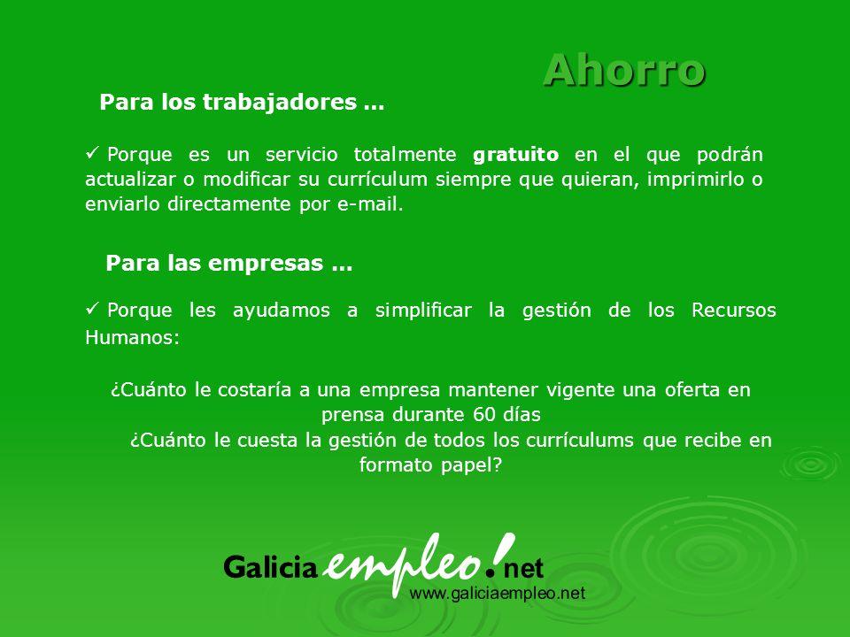 Difusión Para los trabajadores … Para las empresas … Porque nuestra página será la Web sobre empleo más visitada de Galicia y una de las primeras de ámbito nacional.