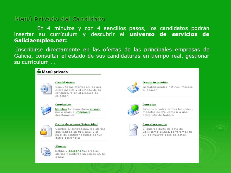 Menú Privado de Empresa Las empresas pueden consultar los currículums de los candidatos inscritos en sus ofertas, buscarlos directamente en nuestra base de datos, publicar cursos …