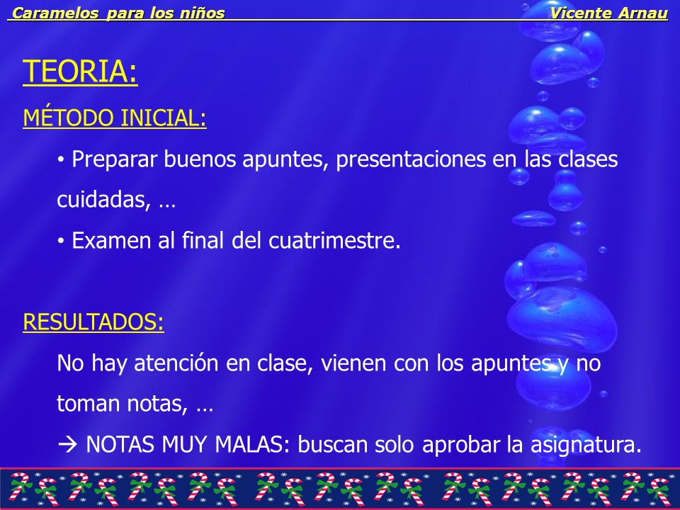 Caramelos para los niños Vicente Arnau Caramelos para los niños Vicente Arnau SOLUCIÓN : Preparar buenos apuntes, presentaciones en las clases cuidadas, … Examen al final del cuatrimestre.