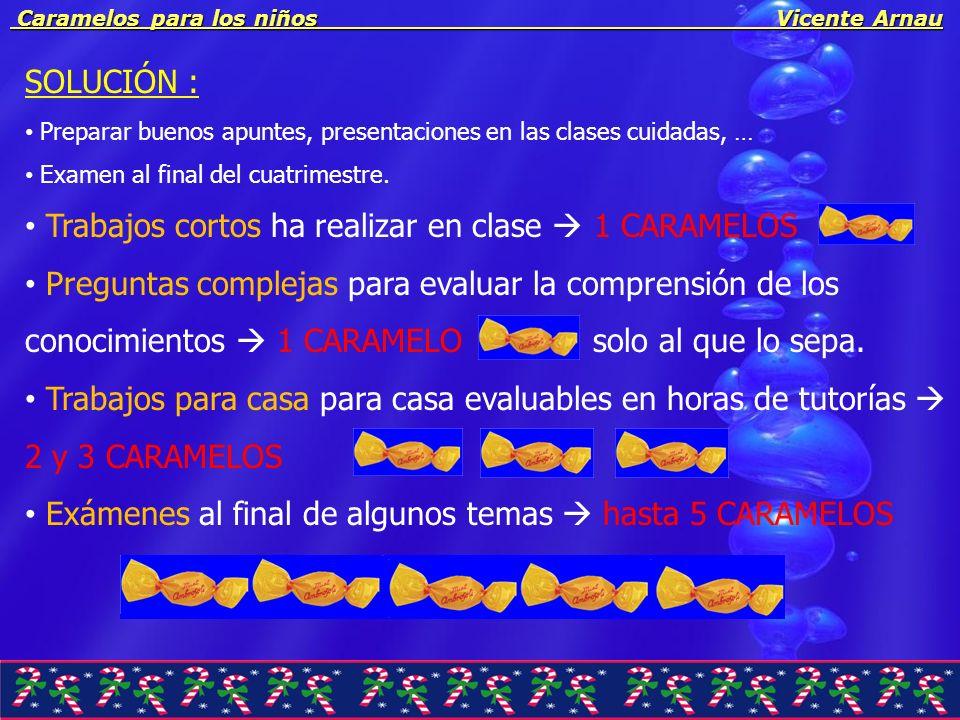 Caramelos para los niños Vicente Arnau Caramelos para los niños Vicente Arnau TEORIA: = una DECIMA DE PUNTO a sumar a la nota final de TEORÍA.
