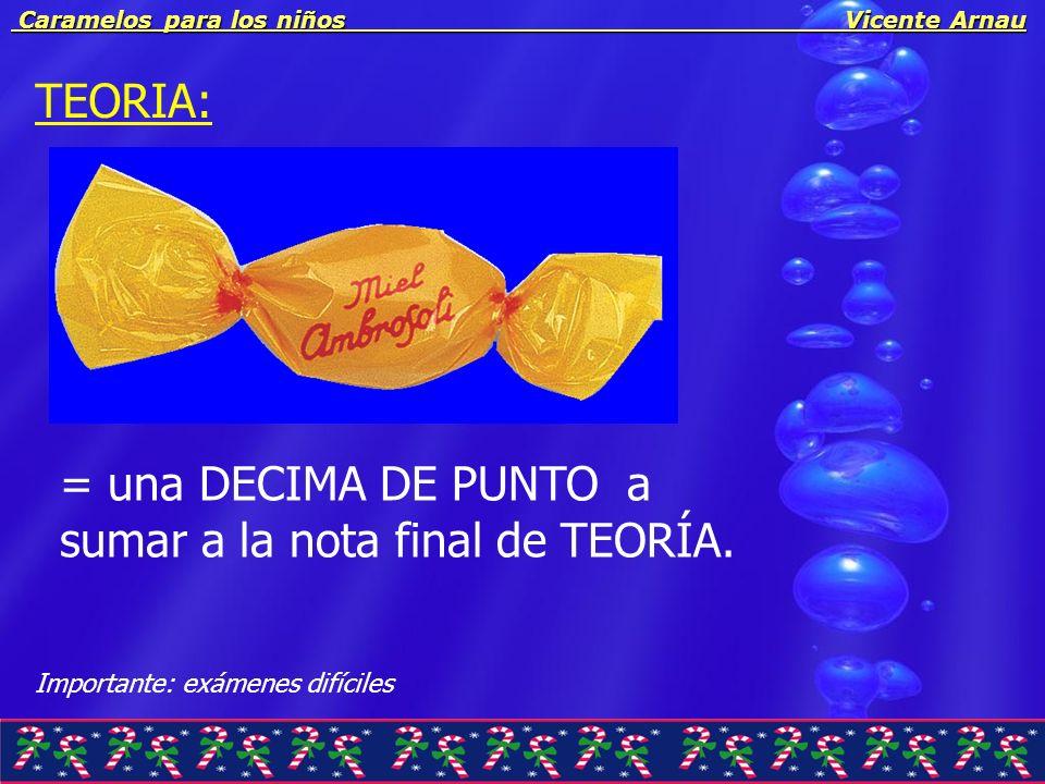 Caramelos para los niños Vicente Arnau Caramelos para los niños Vicente Arnau TEORIA: RESULTADOS: Mucha atención en las clases.