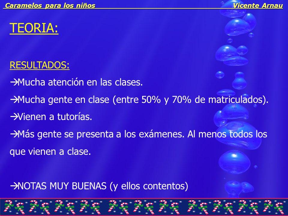 Caramelos para los niños Vicente Arnau Caramelos para los niños Vicente Arnau POSIBLES MEJORAS: Que la nota final esté siempre entre 0 y 10