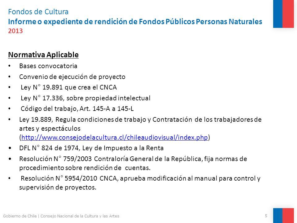 Fondos de Cultura Informe o expediente de rendición de Fondos Públicos Personas Naturales 2013 Consideraciones generales Concordancia con el presupuesto o última modificación aprobada (a partir de la aprobación).