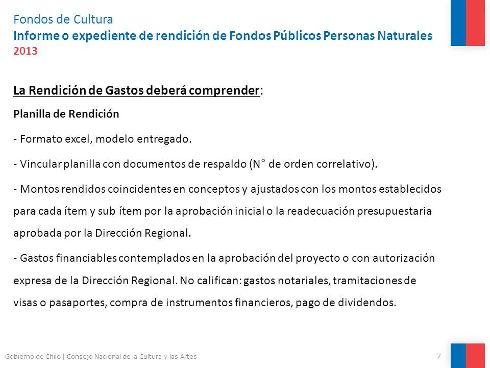 Fondos de Cultura Informe o expediente de rendición de Fondos Públicos Personas Naturales 2013 Documentos de respaldo Requisitos: - Documentos originales.