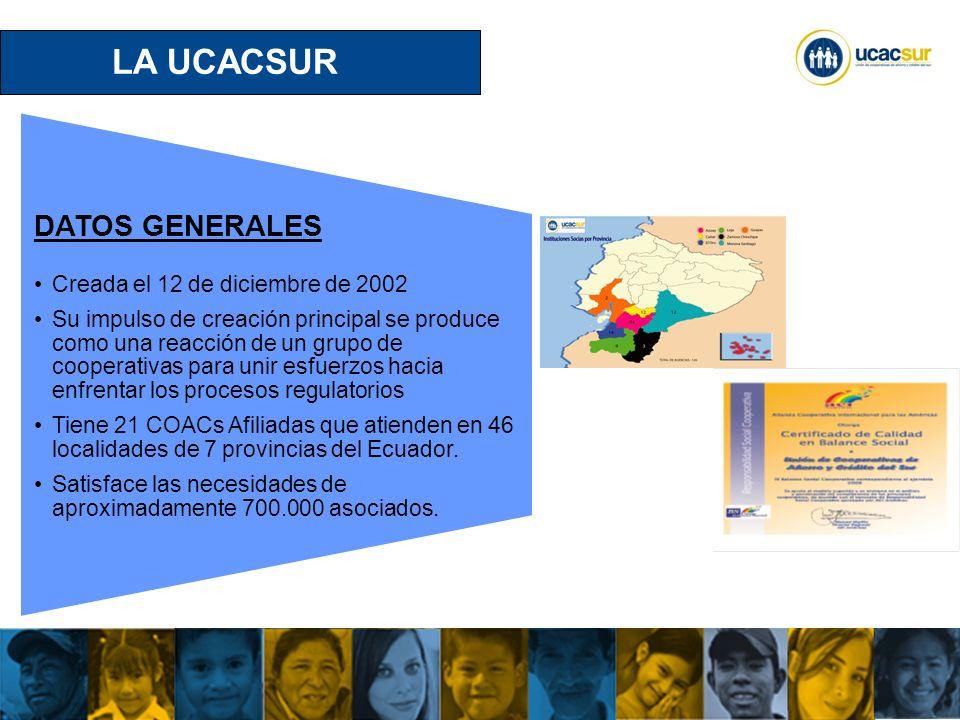 UCACSUR Cuenca: Eugenio Espejo 8-38 y Padre Aguirre Teléfono: 593 7 2838195 WWW.UCACSUR.COOP LA UCACSUR Fuente de trabajo directa para 1.188 personas.