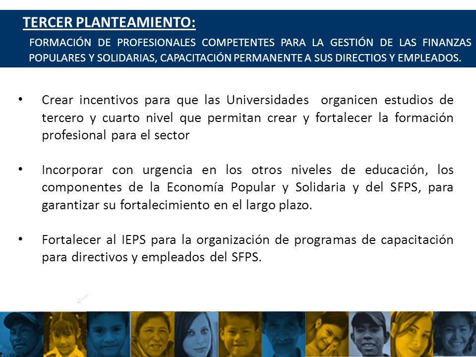 UCACSUR Cuenca: Eugenio Espejo 8-38 y Padre Aguirre Teléfono: 593 7 2838195 WWW.UCACSUR.COOP PLANTEAMIENTO DEL COMITÉ 43 CUARTO PLANTEAMIENTO: CONSTITUIR FINANCIAMIENTOS SIGNIFICATIVOS DEL ESTADO PARA FORTALECER EL SISTEMA FINANCIERO POPULAR Y SOLIDARIO Y DESARROLLAR LA ECONOMÍA POPULAR Y SOLIDARIA.