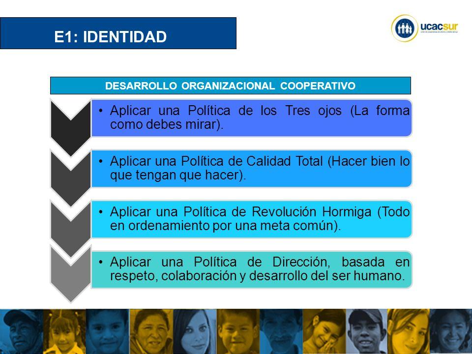 UCACSUR Cuenca: Eugenio Espejo 8-38 y Padre Aguirre Teléfono: 593 7 2838195 WWW.UCACSUR.COOP E2: POLITICA INSTITUCIONAL VALORES Y PRINCIPIOS NIVEL BASICO NIVEL OPERATIVO NIVEL ESTRATEGICO NIVEL CRITICO DESARROLLO ORGANIZACIONAL COOPERATIVO MISIONVISION OBJETIVOS DECISIÓN