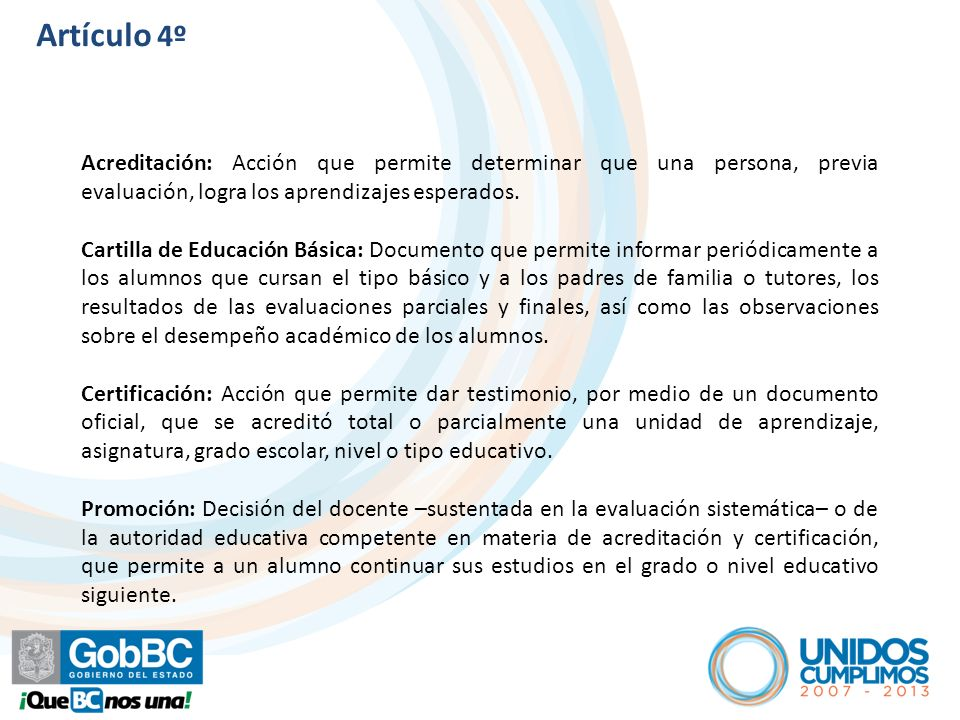 Artículo 5º Se establece como un documento: Informativo del desempeño de los alumnos.
